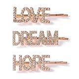 """Set di 3 fermagli per capelli da donna in stile minimalista, in lega di metallo, con scritta in lingua inglese """"Love Hope Dream"""" e brillantini, colore: A, cod. hgfcdd"""