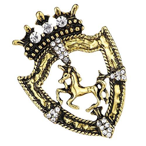 Baoblaze Frauen Accessory Königin Krone Stil Brosche Pferderennen Abzeichen mit Kette Quaste Damen Hochzeits - Geschenk - Antikes Messing (Krone Pferd Aus Messing)