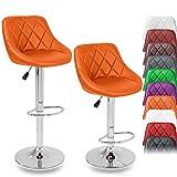 DWD-Company 2er Set Barhocker Barstuhl 10 Farben wählbar, 360° frei drehbar, Sitzhöhenverstellung 60-80cm (orange)