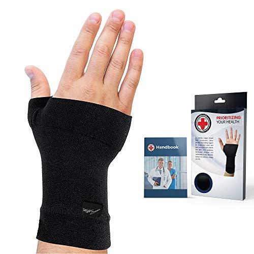 Arzt entwickelte Handgelenkbandage/Handgelenkstütze mit Kupferfasern (Single) (Schwarz, L)