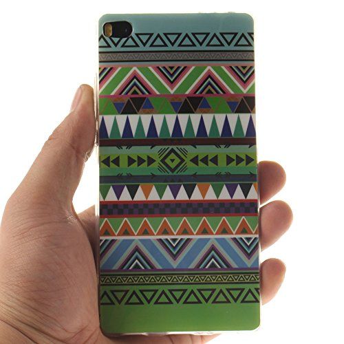 Huawei P8 hülle,MCHSHOP Ultra Slim Skin Gel Schlank TPU Case Schutzhülle Silikon Silicone Schutzhülle Case Back Cover für Huawei P8 - 1 Kostenlose Stylus Pen (Vans von der wand) Tribal Aztec
