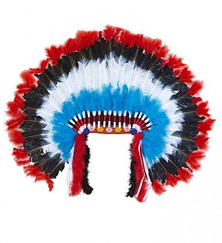 Indianer Kopfschmuck mit Federn für Damen und Herren Rot/Türkis/Schwarz/Weiß Indianerin (Herren Kopfschmuck Indianer)