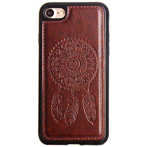 CellularOutfitter Apple iPhone 7 Leather Wallet Case - Embossed Dreamcatcher Design w/ Matching Detachable Case and Wristlet - Purple Brown
