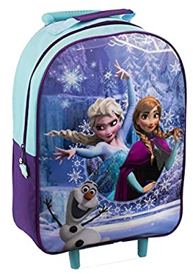 Kids Trolley Cabin Bag Suitcase with Wheels and Telescopic Handle - Ideal for short breaks, holidays, sleepovers and school trips (Disney Frozen)