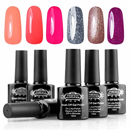 Perfect Summer 6pcs 10ml Vernis à Ongles Gel Semi Permanent UV LED Soak Off Nail Art Manucure #70