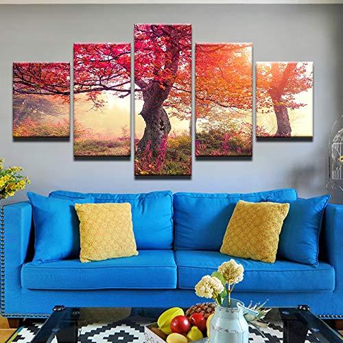 mmwin Wandkunst Moderne Arbeit Landschaft Leinwand Gedruckt 5 Panel Herbst Rot Ahorn Bilder Wohnzimmer Dekoration - Hello Kitty Kosmetik-set
