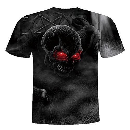 VECDY Herren Bluse,Räumungsverkauf- Herren Mens Skull 3D Druck T-Shirt Kurzarm Bluse Tops Lässige Strickjacke Coole Neue Spitze (54, ❤Schwarz)