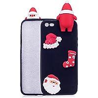 Para el iPhone 5 / 5S / SE Funda de la serie de Navidad, HengJun Christmas Santa Funda de silicona suave y floral delgada 3D Creativa Moda Dibujos animados lindos Funda de goma a prueba de golpes para iPhone 5 / 5S / SE - A Black