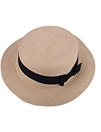 Boater Hat Sombrero de paja para mujer Bowknot Round Flat Top Brim Sombrero de paja Summer Beach Sun Cap