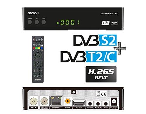 Edision, PICCOLLINO, ricevitore combo S2+ T2/C H.265/HEVC (DVB-S2, DVB-T/T2, DVB-C), full HD, USB, colore nero