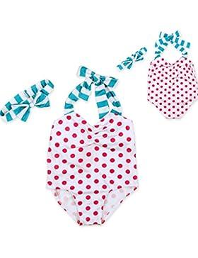 YiJee Neonata Appena Nata Costume da Bagno a Pois Swimwear Halter Monokini+ Bowknot Fascia