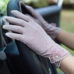 Huasho Guantes de conducción con Estampado de protección Solar de Verano para Mujer Guantes de Verano Guantes Transpirables Antideslizantes para Mujer,púrpura