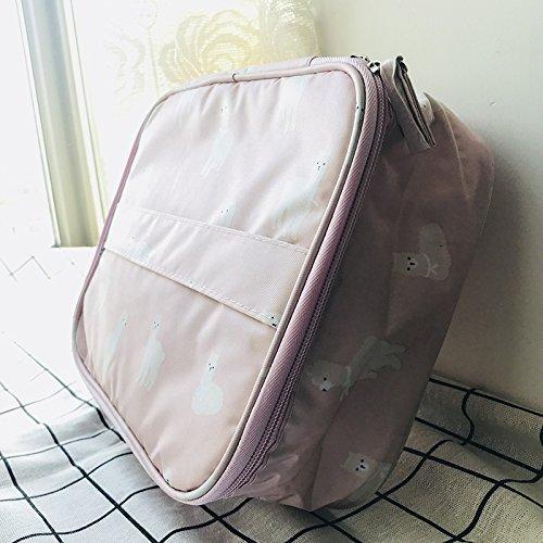 LULAN Tragbare Flamingo Make up\'s Tasche Frauen Universität Zulassung Paket Einfache Kleine Wasserdichte Reisetasche Tragen - auf Waschen, 25 * 21 * 7,5 cm, Pink Alpaka
