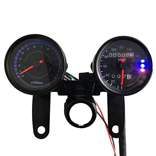 KKMOON 12 V Moto 13000 RPM Tacómetro Km/h, doble cuentakilómetros calibrador con...