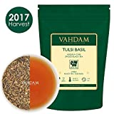 Hojas de té orgánico Tulsi Basil Masala Chai de la India (50 tazas), mezcla única de té negro de Assam, albahaca Tulsi, canela, cardamomo, jengibre, pimienta negra, clavo, macis y nuez moscada, 100g
