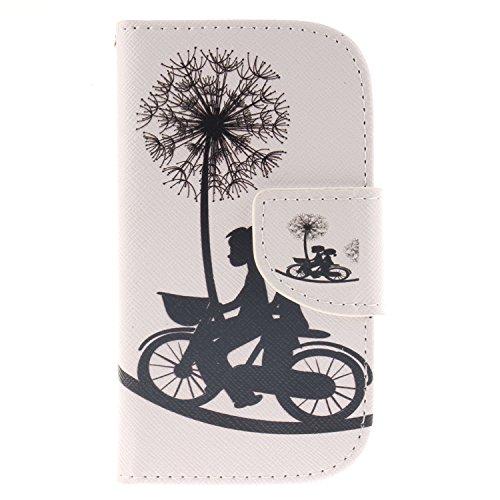 Anlike für Samsung Galaxy S3 mini I8190 (4 Zoll) Hülle / Handyhülle / Schutzhülle / Ledertasche / Tasche / Case / Cover / Flip Brieftasche / Bookstyle mit Standfunktion Kredit Karteneinschub und Magnetverschluß - Liebhaber Fahrrad