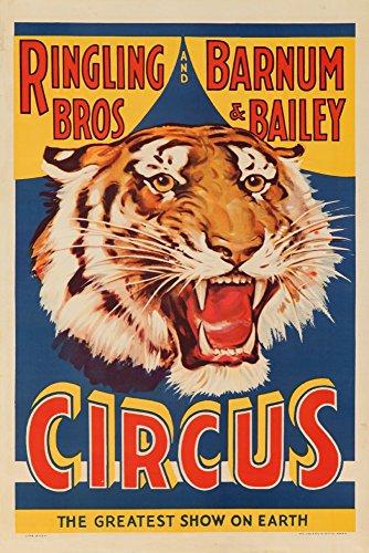 Ringling Bros und Barnum und Bailey Circus (Tiger Head) Vintage Poster USA, Papier, multi, 12 x 18 Art Print -