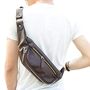 Small Chest Bag, Berchirly Casual PU Leather Man Pack Waist Sling ...