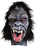 shoperama Crazy Monkey Deluxe Maske mit Fell Gorilla Affe Erwachsene Latex Halloween