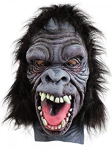 Crazy Monkey Deluxe Maske mit Fell Gorilla Affe Erwachsene Latex Halloween (Deluxe Gorilla-kostüm)