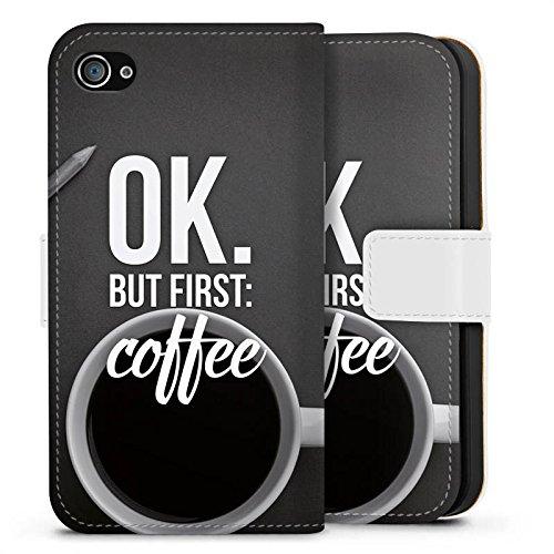 Apple iPhone X Silikon Hülle Case Schutzhülle Kaffee Sprüche Spruch Sideflip Tasche weiß