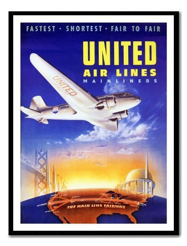 United Airlines 1939 Travel Poster schwarz drucken gerahmt – 41 x 31 cms (ca. 40,6 x - United Airlines Poster