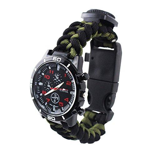 Herrenuhren Multifunktional Kompass Thermometer Tarnung Armbanduhren für Herren Paracord Band Sport, Armee Grün-Schwarz