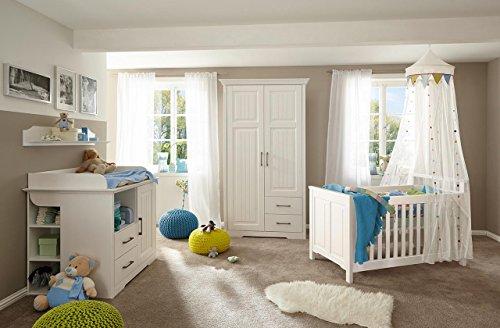 Babyzimmer, Kinderzimmer, Komplett-Set, Babymöbel, Babybett, Wickelkommode, Babyausstattung, Einrichtung, Komplett, Schrank, Kiefer, teilmassiv