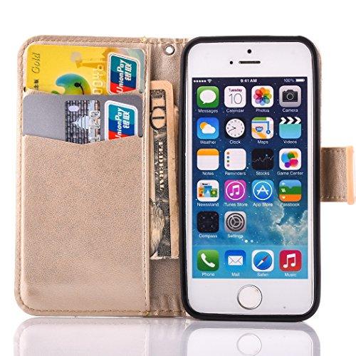 Custodia iPhone SE, ISAKEN iPhone 5S Flip Cover, iPhone 5 Custodia con Strap, Elegante Bookstyle Contrasto Collare PU Pelle Case Cover Protettiva Flip Portafoglio Custodia Protezione Caso con Supporto Oro