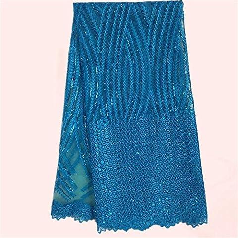 tela de encaje neto francesa cielo nuevo precio al por mayor azul bordado de tul parte africana del cordón del acoplamiento para el vestido JNZ24-7 (5yards / lot)