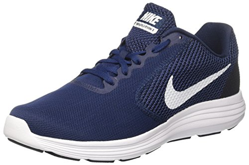 Nike Herren Revolution 3 Sneaker, Blau (Midnight Navy/Obsidian/White 406), 41 EU (Navy Midnight Schuhe)