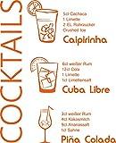 GRAZDesign Sprüche für die Küchenwand Cocktails - Tattoo Küchen Rezepte - Wandtattoo Küche witzig Caipirnha - Wandtattoo Küche Cuba Libre / 70x57cm / 035 pastellorange / 300022_57_WT035