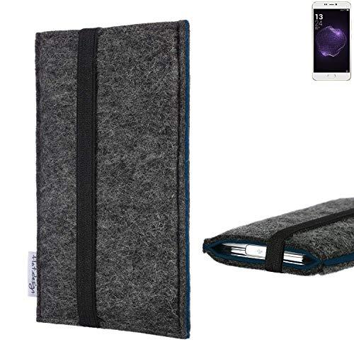 flat.design Handyhülle Lagoa für Allview X4 Soul Style | Farbe: anthrazit/blau | Smartphone-Tasche aus Filz | Handy Schutzhülle| Handytasche Made in Germany