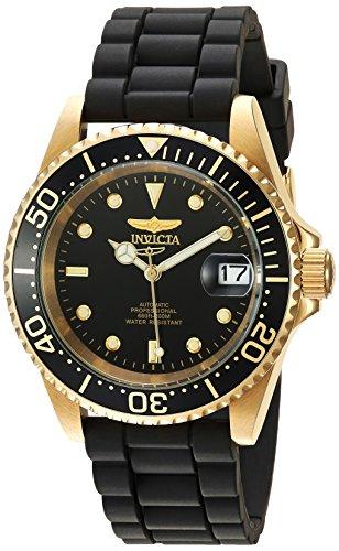 Uhren Schwarz Herren Invicta (Invicta Pro Diver Herren-Armbanduhr Armband Silikon Schwarz Automatik 23681)