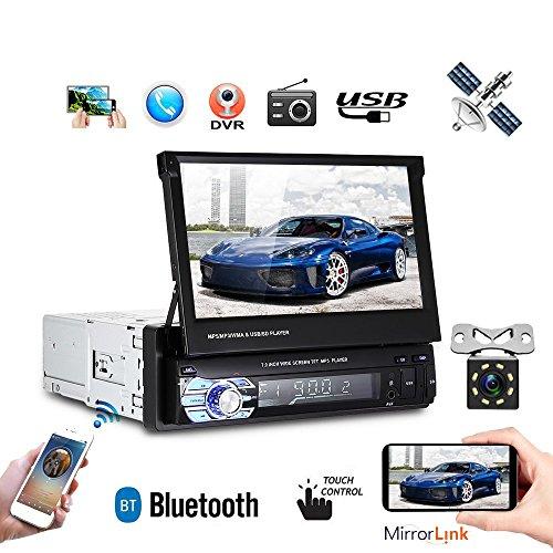 1DIN HD 17,8 cm auto MP5 Player radio stereo pieghevole touch screen GPS Head Unit Bluetooth mappe Europa intrattenimento multimediale radio + mini 8 luce IR telecamera (con 8 g mappa card)