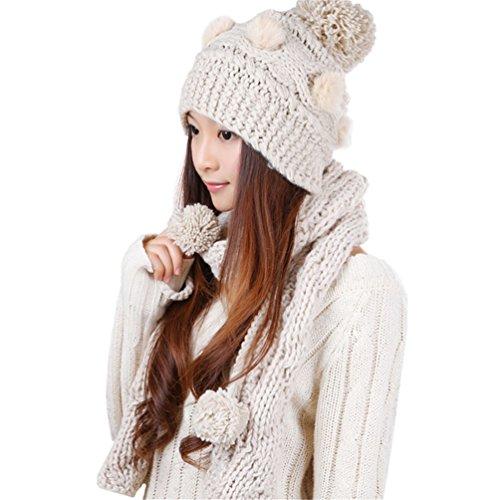 Generic - Ensemble bonnet, écharpe et gants - Femme Beige