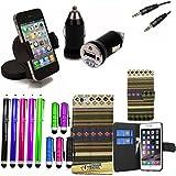 Accessory Master 15-in-1 pu Leder Flip Buch Fall Hülle, Displayschutzfolie, 10 Farbe Stylus, Double Adapter Jack auf Stereo-Stecker-Kabel (3,5 mm), Kfz-Ladegerät, universal Kfz-Autohalterung für Apple iPhone 6 braun preiswert