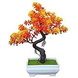 New Künstliche Bonsai Zeder BüRo Lucky Deko Mit Schale ,Kiefer Fake Blume ,Höhe ca. 24 cm ,orange , #33