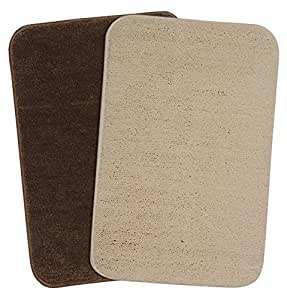 Saral Home Soft Microfiber Small Anti Slip Bathmat Set of 2pc -35x50 cm, Multi