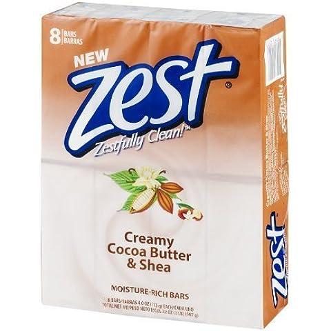 Zest 8-Bar Bath Size Soap, Creamy Cocoa Butter & Shea,