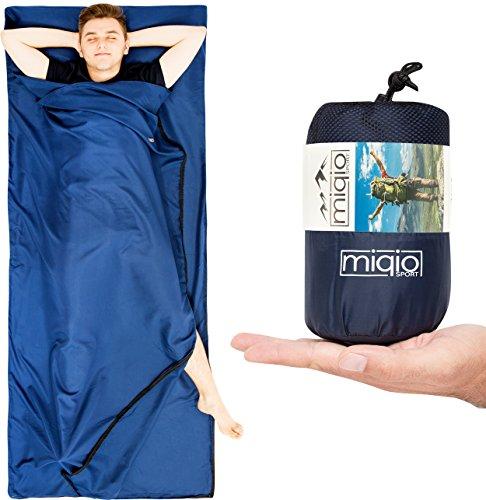 MIQIO® Hüttenschlafsack 2in1 mit durchgängigem Reißverschluss |Reiseschlafsack (90 x220cm) und Reisedecke (Travel-Sheet) in Doppelbettgröße (180x220cm) in Einem | Innen-Schlafsack Inlett /Inlay