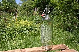 freiglas 1,0l Trinkflasche aus Glas *Blume des Lebens* ~ made in Schwarzwald ~