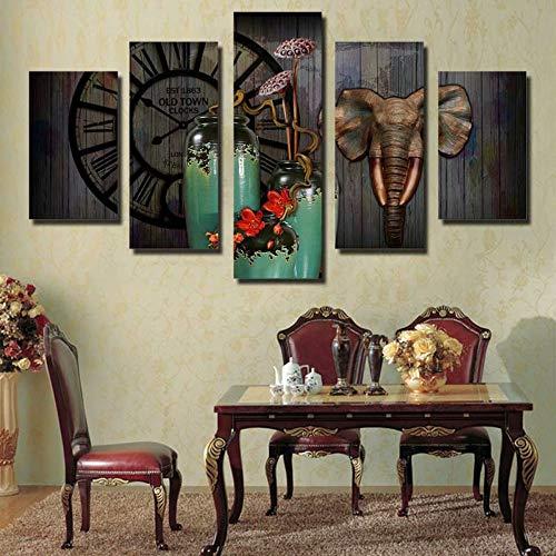 XIANRENGE 5 Panel De Impresión Lienzo Pintura Elefantes Animales Flores Paisajes HD...