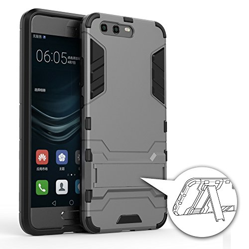 Becool® - Hybrid Hülle [Heavy Duty] für Huawei P10, Outdoor Dual Layer Armor Case Handy Schutzhülle, Cover mit Ständer für Huawei P10. Cool Shield dunkelgrau