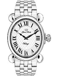 Glam Rock Damen Vintage Steel Bracelet & Case Schweizer Quarz silberfarbenes Zifferblatt analoge Uhr gr28033