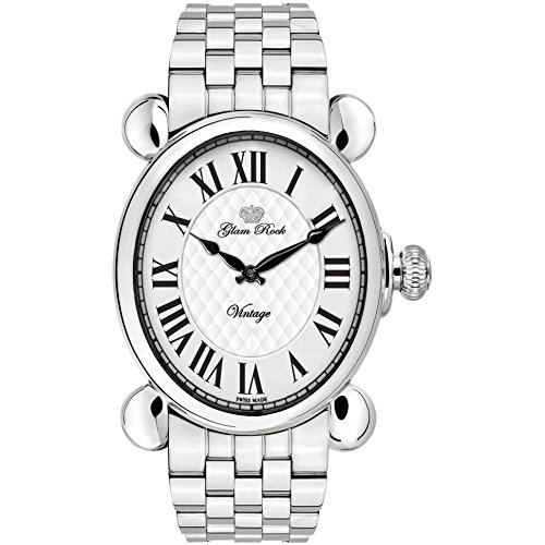 Glam Rock Women's Vintage Steel Bracelet & Case Swiss Quartz Silver-Tone Dial Analog Watch GR28033
