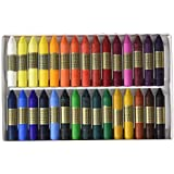 Manley REF124 - Caja de 24 ceras en barritas, para dibujo escolar, colores surtidos, 1 unidad