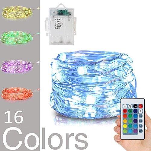 5M 50 LEDs RGBW LED Lichterkette, SiFar IP67 16 Farbe 8 Modi Außenleuchten mit Fernbedienung, für Zuhause, im Freien, Garten, Terrasse, Hochzeit und Weihnachtsfeier [Energieklasse A ++]