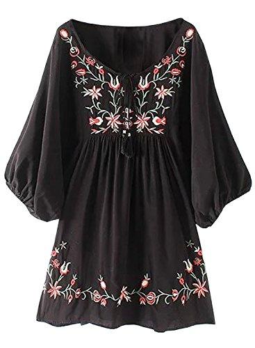 Futurino Damen Bohemian Stickerei Floral Tunika Shift Bluse Flowy Minikleid (Stickerei Mexikanischer)