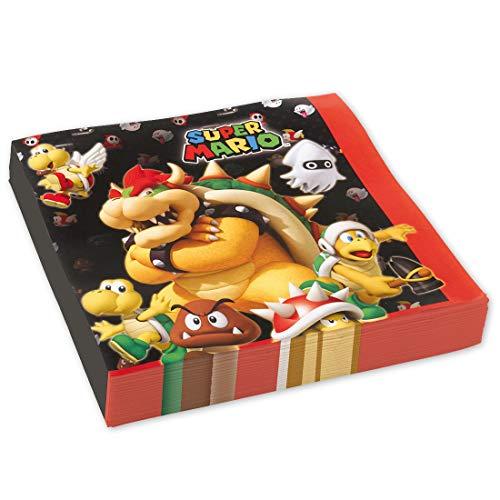 NET TOYS 20 Serviettes Super Mario Brothers | 33 x 33 cm à Double Couche | Décoration de fête Originale Serviettes en Papier | Idéal pour Anniversaire d'enfants & fête d'enfants